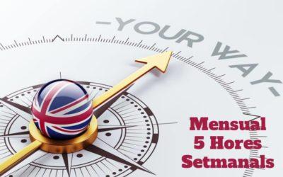 Curs d'Anglès 5 hores setmanals (Pagament Mensual)